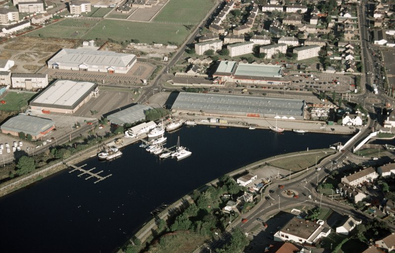 Aerial view of Muirtown basin, Caledonian Canal, Inverness, looking NW.
