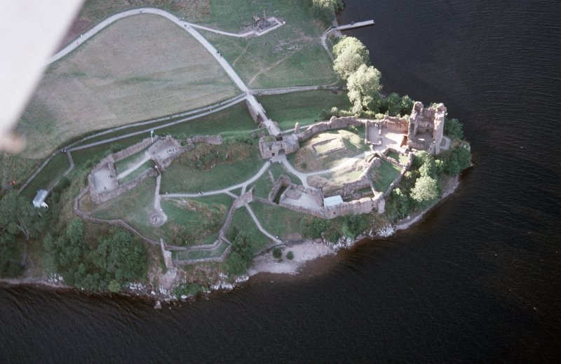 Aerial view of Urquhart Castle, Loch Ness, looking W.