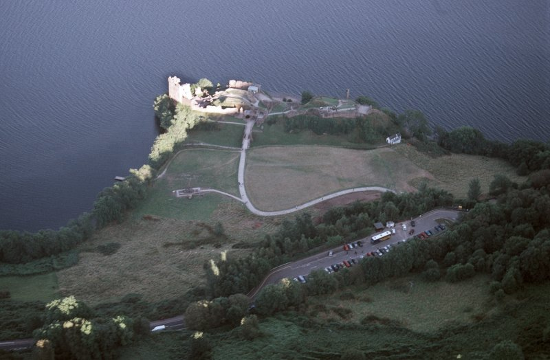 Aerial view of Urquhart Castle, Loch Ness, looking E.