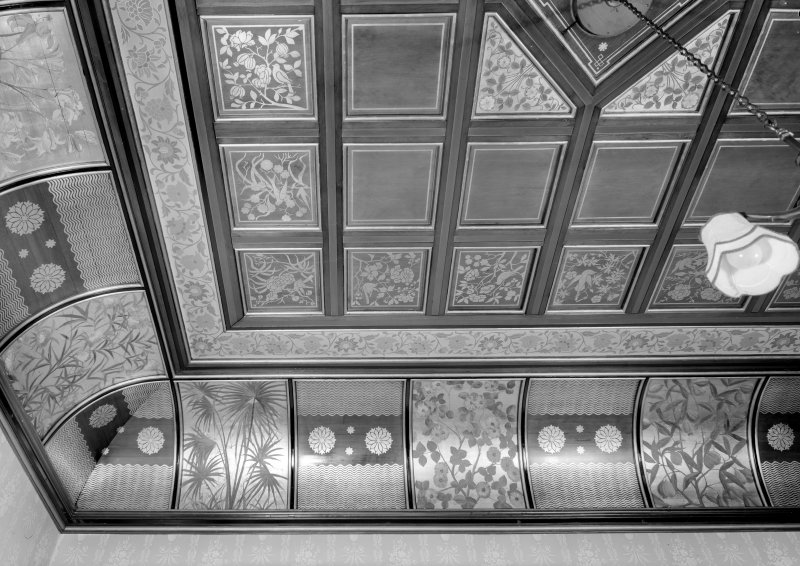 Interior view of Cairndhu Hotel, Ardrossan, showing detail of ceiling in drawing room.
