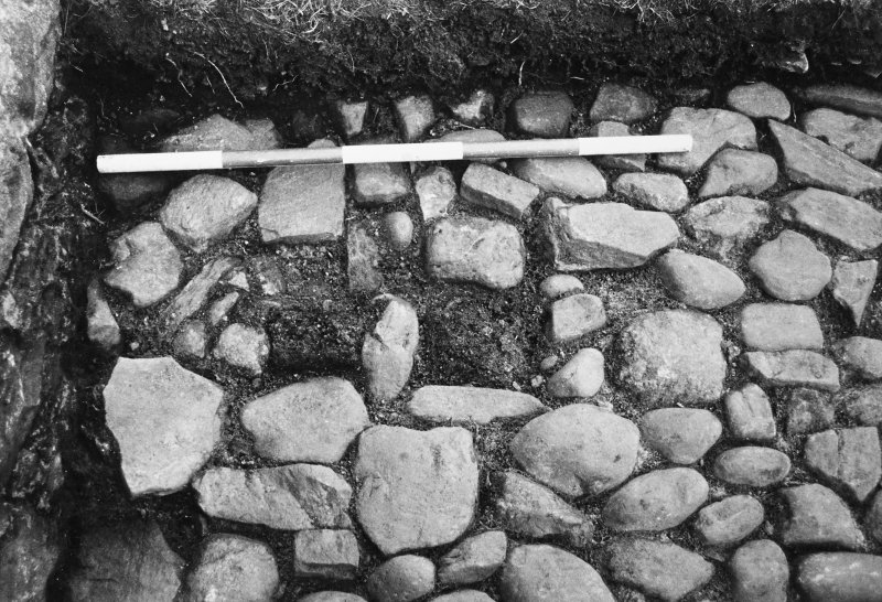 Excavation of the cobbled apron and interior of the N stable and the stable forestair. Detail of the well, and the cobbled drain and sump in the parade ground.
