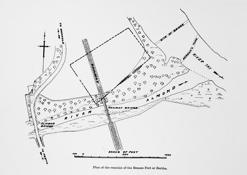 Photograph of an ink plan entitled 'Plan of the remains of the Roman Fort at Bertha.'