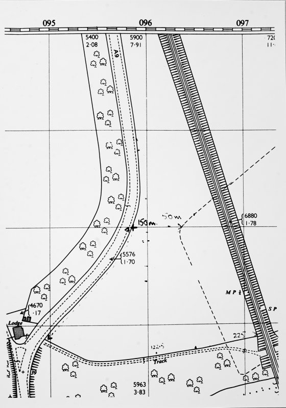 Photograph of an extract of OS map (NO0826 & NO0926) annotated with measurements.    [This is a close-up section of C59680.]