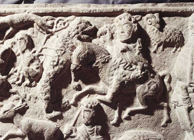 Detail of sarcophagus, showing hunting scene. (Panel 1)