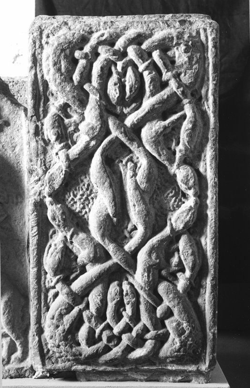 Detail of right-hand corner post of sarcophagus. (Corner-post 1B)