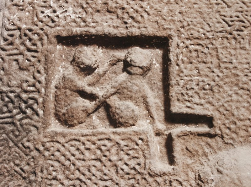 Detail of upper pair of monkeys on side-panel of sarcophagus. (Panel 1A)