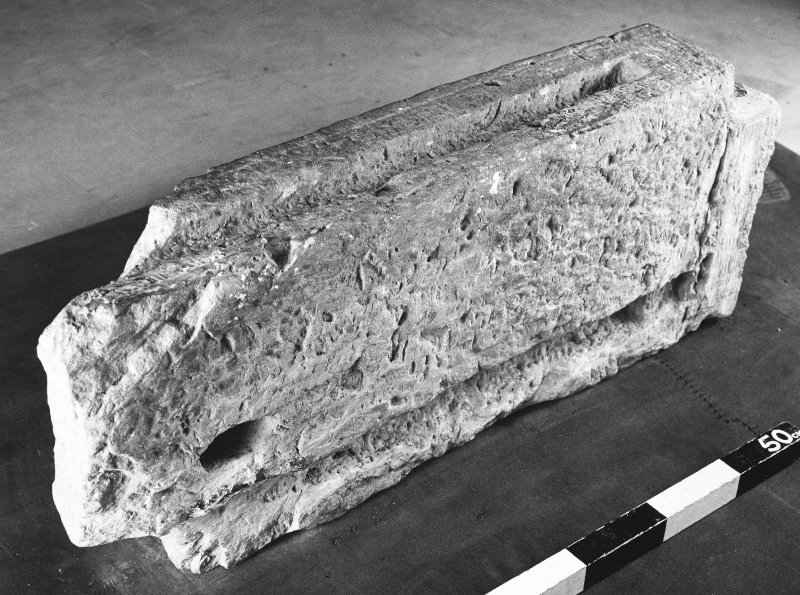 St Andrews Sarcophagus. Left corner-post. Corner-post 1C. View of reverse.