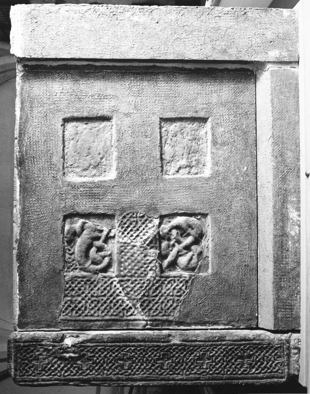 View of fragment of right side-panel of sarcophagus and corner post. (Corner-posts 1B and 1E)