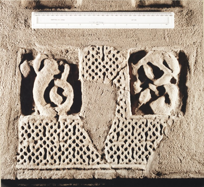 St Andrews Sarcophagus. Detail of right-hand side panel fragments. Panel 1E.