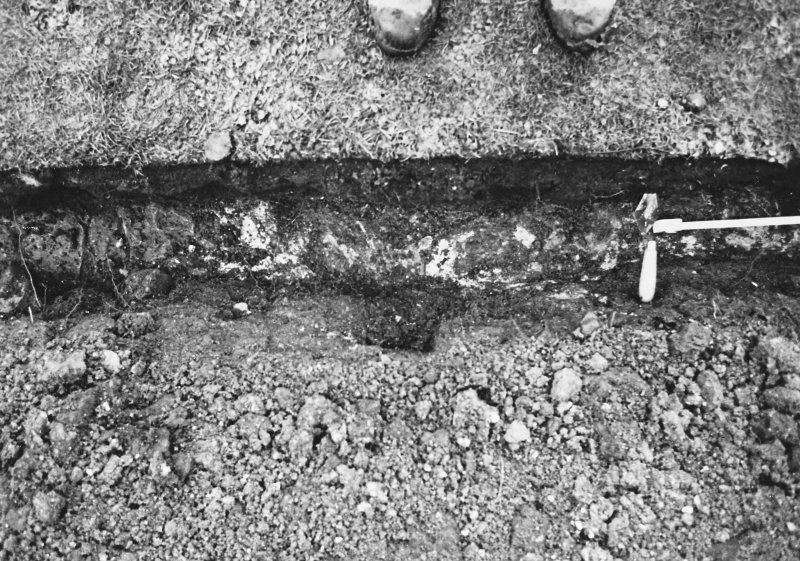 Excavation photograph - Trench I: vertical shot of mortar spread (un- numbered) - from N