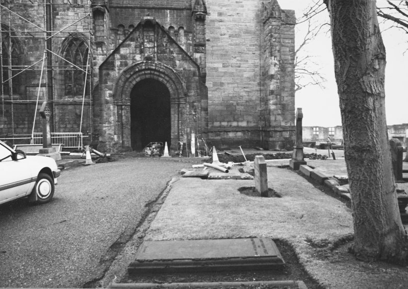 Excavation photograph - View towards N porch at W end of nave of abbey church - from N