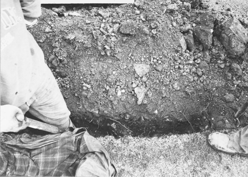 Excavation photograph - Mortar and stones in SE section of W extension of Trench I - from W
