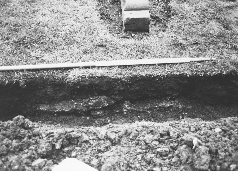 Excavation photograph - Mortar blocks in S section of Trench II - from N