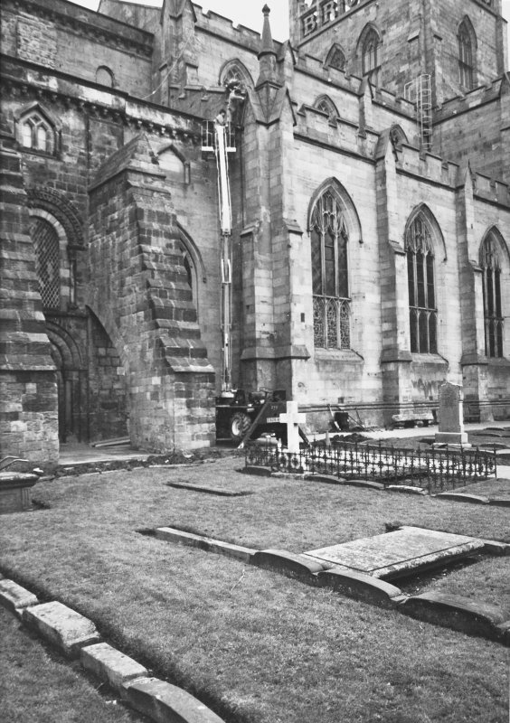 Excavation photograph - Junction of old and new abbey churches - from SW