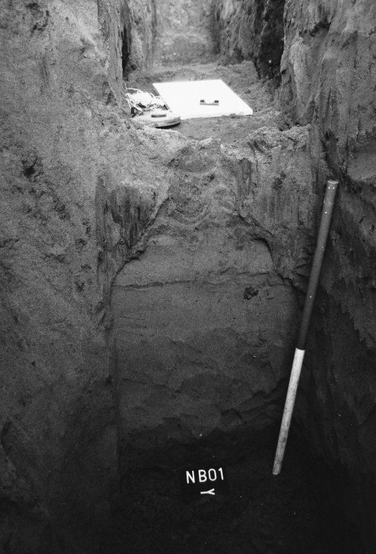 Excavation photograph : trench B, south facing section.