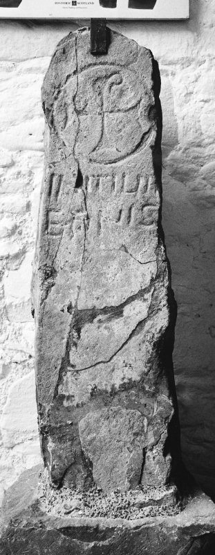 Sculptured stone (Allen and Anderson no.3), bearing Chi-Rho and inscription 'INITIUM ET FINIS'.