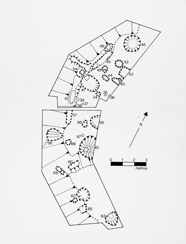 Photographic copy of excavation drawing. Plan of the summit area (trench C). Publication drawing Transactions of Dumfries and Galloway Natural History and Archaeology Society 57,1982, fig 4