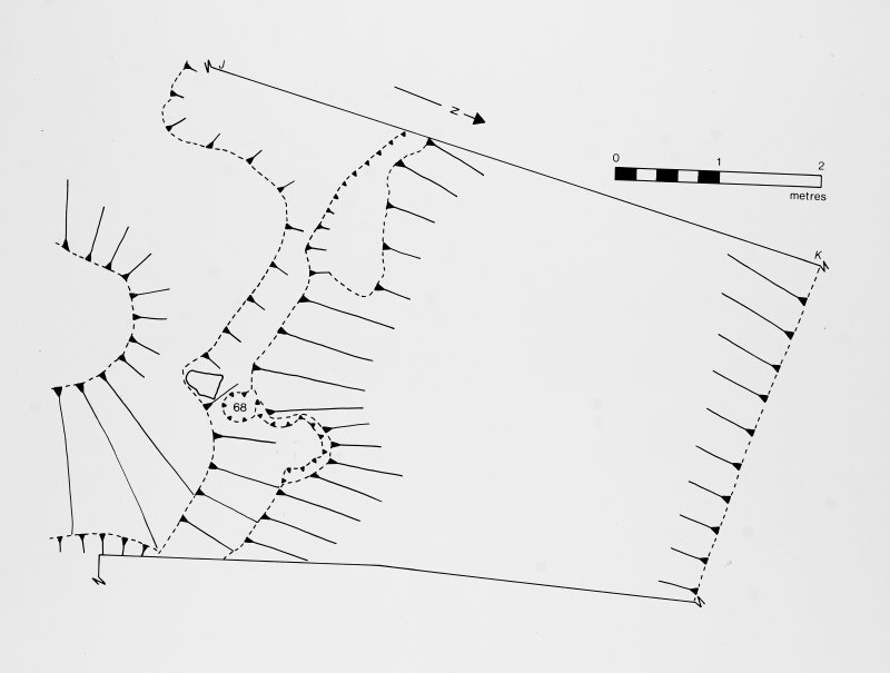 Photographic copy of excavation drawing. Plan of part of combined trench B/D Publication drawing Transactions of Dumfries and Galloway Natural History and Archaeology Society 57,1982, fig 7