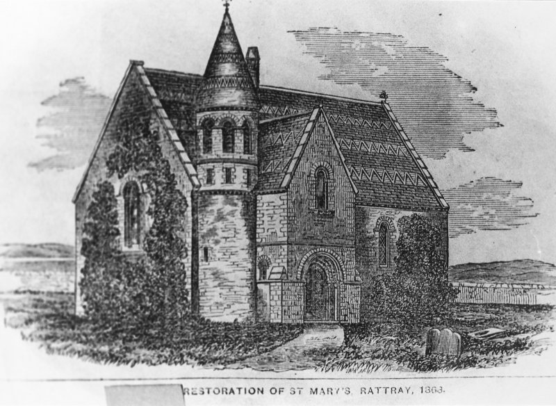Hypothetical C19th reconstruction of St Mary's Church.