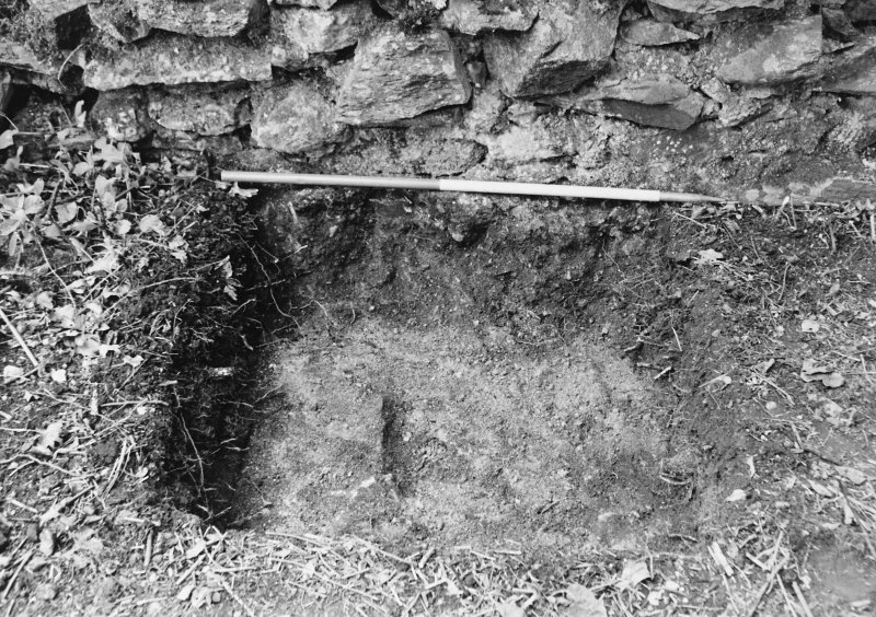 Rossdhu Castle Excavations, June and August/September 1996 Frame 7 - Trench 4 showing mortar-bonded, rubble core of west wall of tower - from north