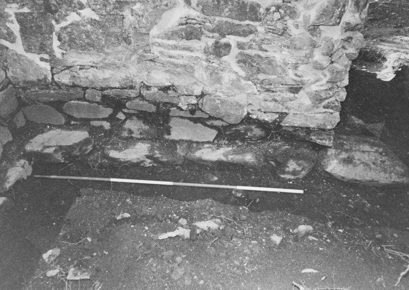 Rossdhu Castle Excavations, June and August/September 1996 Frame 15 - Trench 21: foundations of west wall of tower - from east