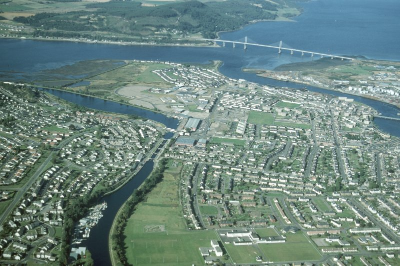 Aerial view of Merkinch and South Kessock, Inverness, looking NE.