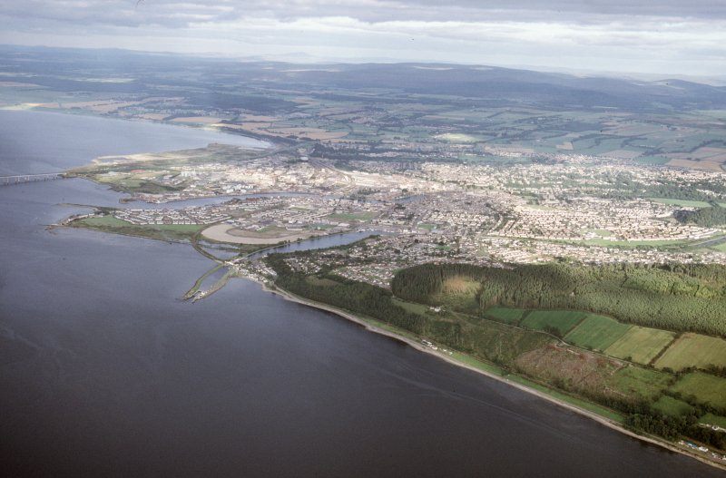 Aerial view of Inverness from the Beauly Firth, looking SE.