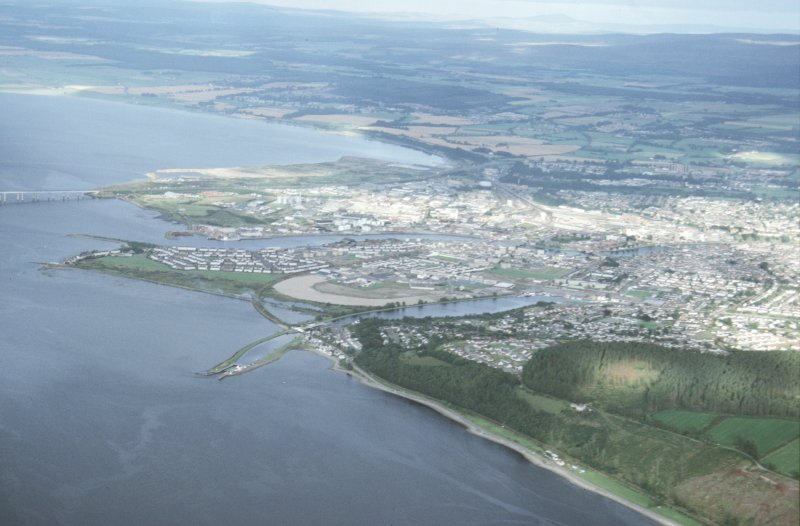 Aerial view of mouth of River Ness and Clachnaharry, Inverness, looking SE.