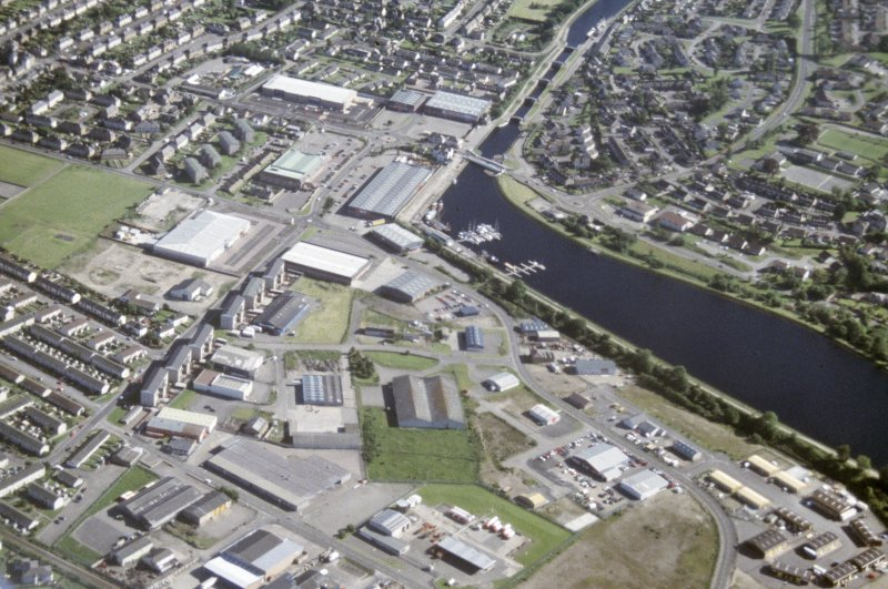 Aerial view of Muirtown Basin, Swing Bridge and Locks Caledonian Canal, Inverness, looking S.