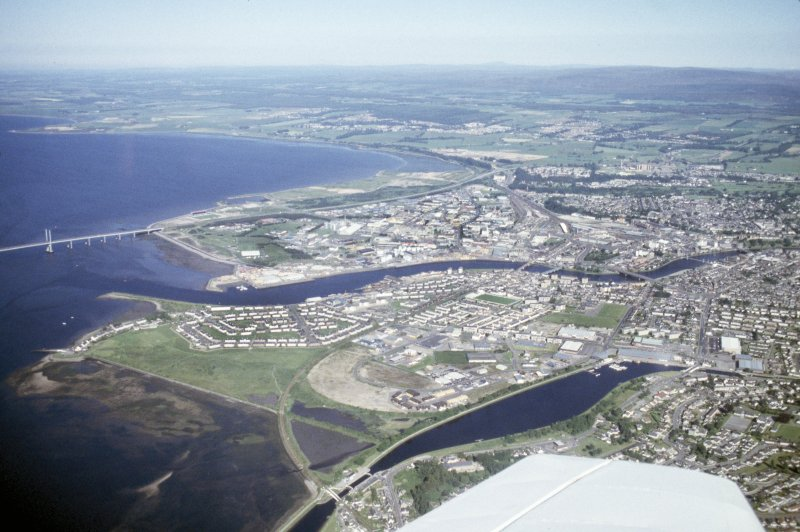 Aerial view of Caledonian Canal and mouth of River Ness at Muirtown, Inverness, looking SE.