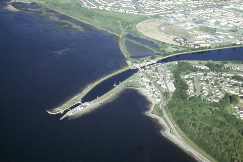 Aerial view of mouth of Caledonian Canal at Clachnaharry, Inverness, looking SE.