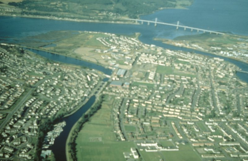 Aerial view of Muirtown Locks and Basin, Caledonian Canal, Inverness, looking NE.