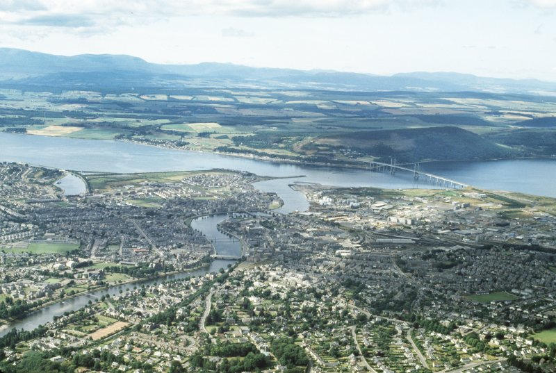 Aerial view of Inverness burgh and River Ness.