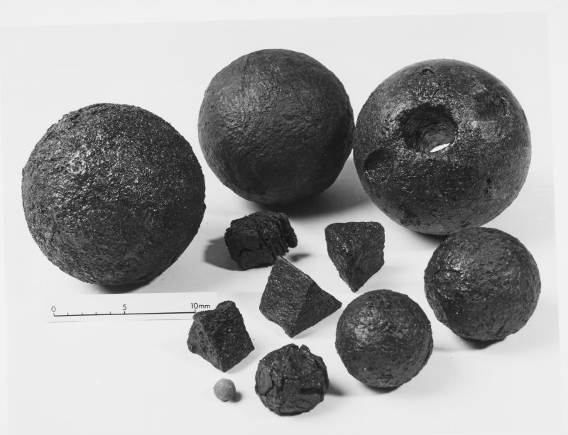 Carrick Castle Dumbartonshire small finds canno balls , coins ect