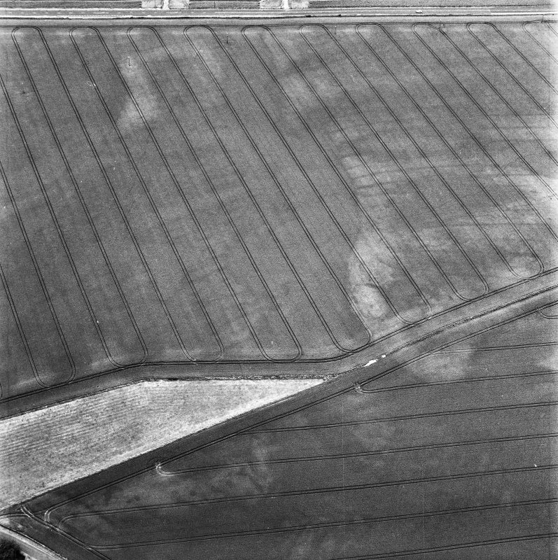 Balcathie, oblique aerial view, taken from the NNW, centred on the cropmarks of two pit-alignments, and showing further cropmarks including those of an enclosure in the centre right of the photograph.