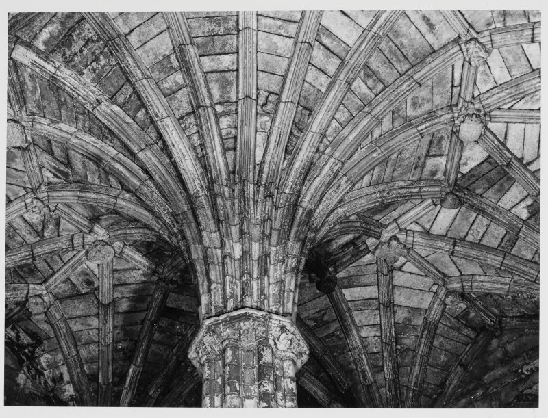 Elgin Cathedral, Morayshire.  Chapter House Roof Carvings etc