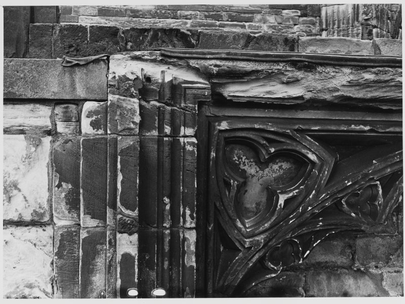 Elgin Cathedral Chapter House Window No 1 + Tomb in St Mary's Aisle.  Effigy Bishop John Pilmore