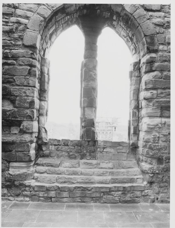 Elgin Cathedral.  Stone Museum, Walkway, Custodian's Office ,Exhibition Room, New Window, Chapter House Stone Shed DH 6.2.85