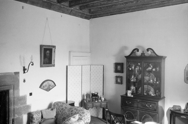 Interior view of Delgatie Castle showing room.