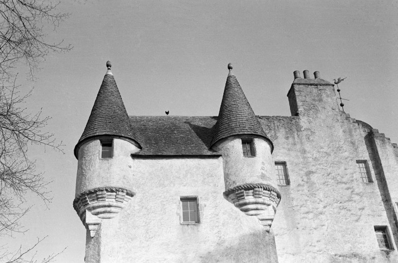 View of turrets, Midmar Castle.