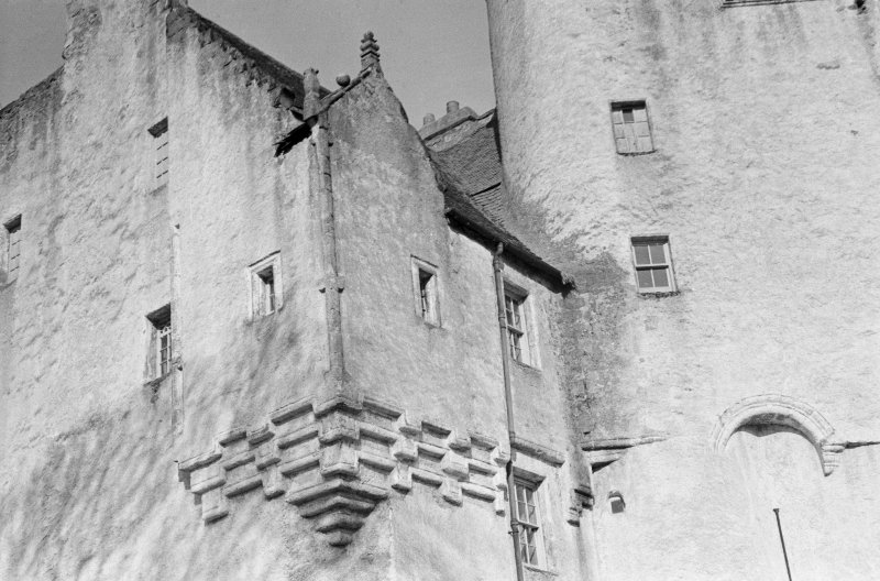 View of corbelling, Midmar Castle.
