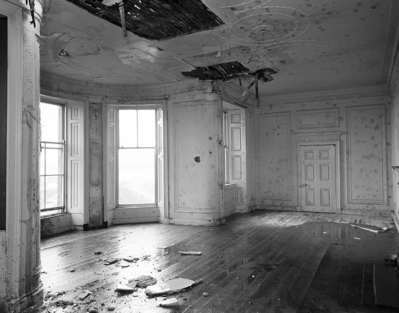 View of interior during demolition.