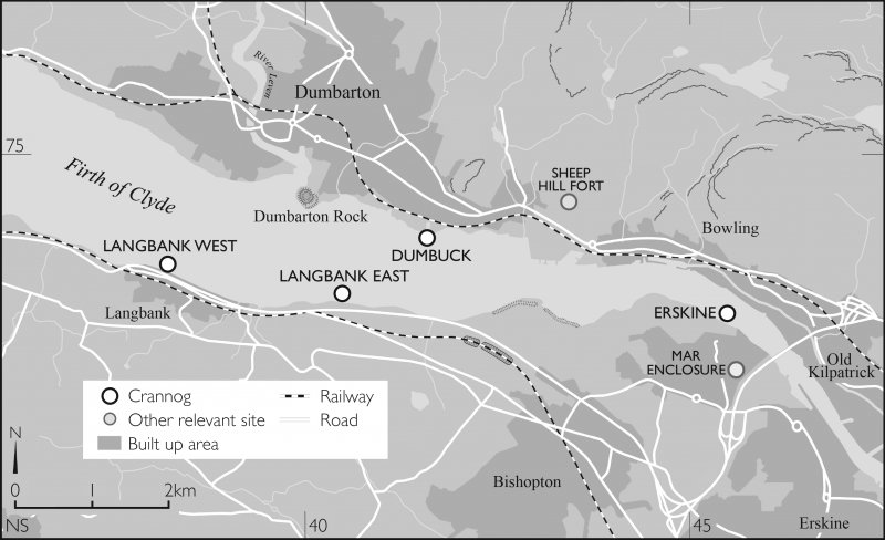 Map of Clyde Crannogs; Dumbuck, Langbank East, Langbank West, Erskine