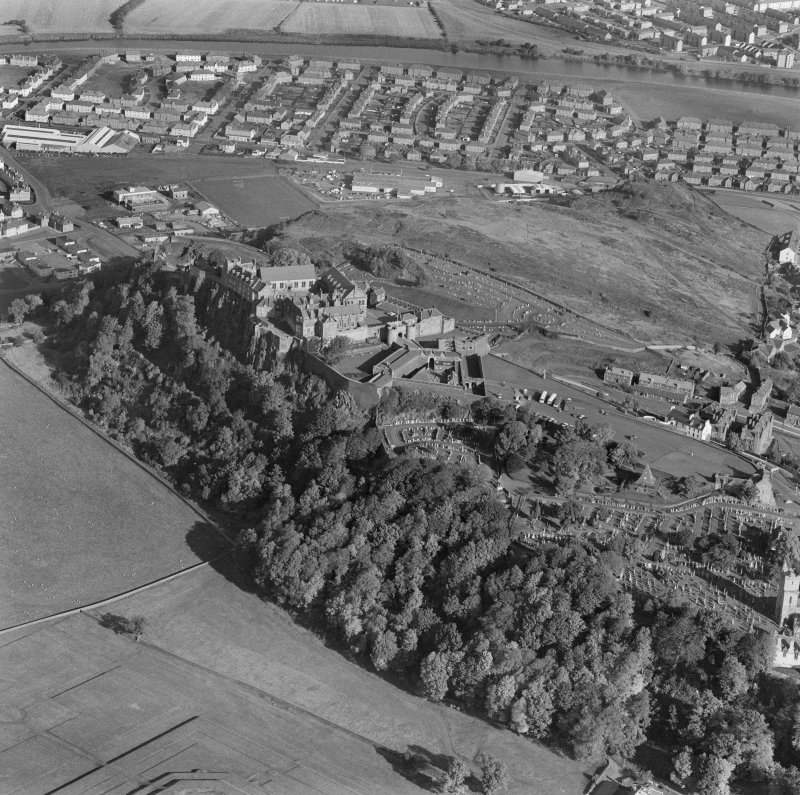 Oblique aerial view centered on Stirling Castle from wes.