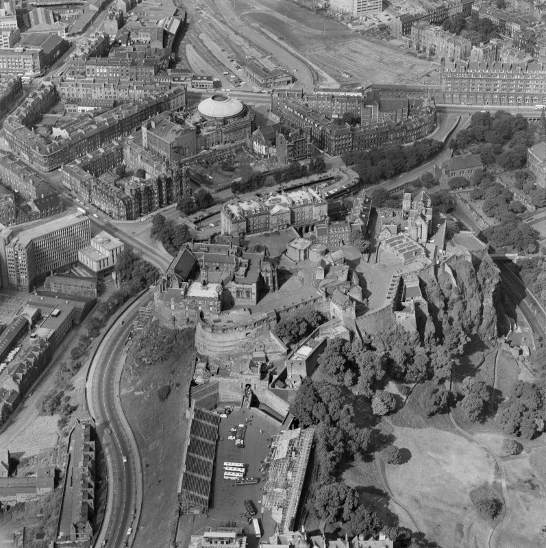 Oblique aerial view showing Edinburgh Castle, the Usher Hall and former station offices on Lothian Road, Edinburgh.
