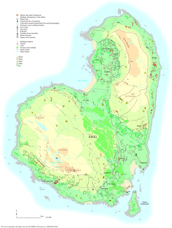 Archaeological map of Eigg, produced for the RCAHMS Broadsheet Eigg: the archaeology of a Hebridean landscape