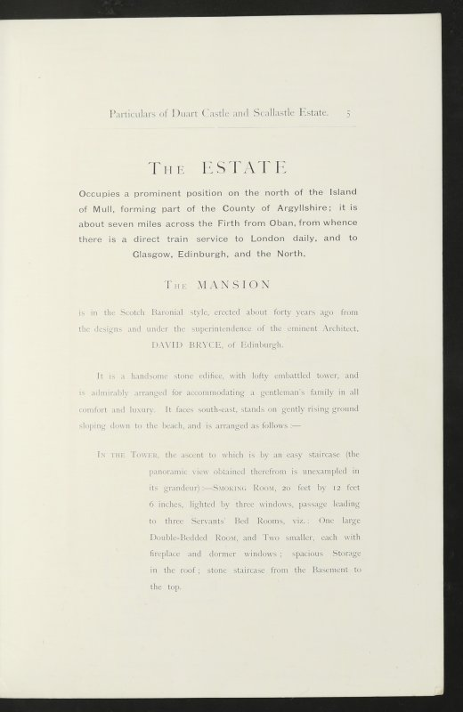 Estate Exchange. Duart Castle and Scallastle. No. 1480 Sales Brochure