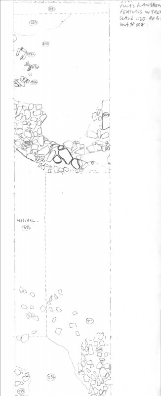 Archaeological evaluation, Scanned trench drawing, Part 3 of 7, Carghidown Castle