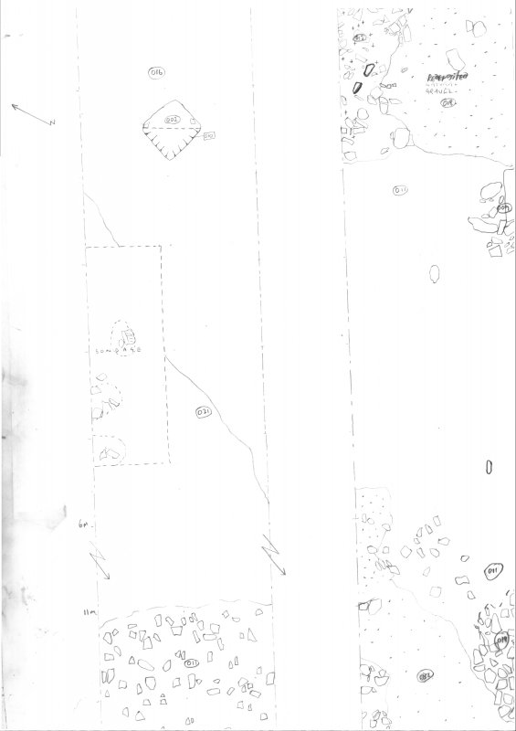 Archaeological evaluation, Scanned trench drawing, Part 5 of 7, Carghidown Castle
