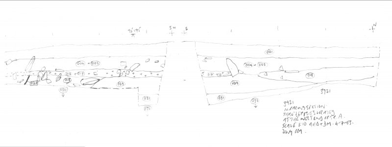 Archaeological evaluation, Scanned drawing of NW facing section at W end of Trench A, Part 1 of 2, Carghidown Castle